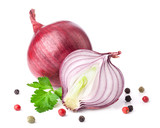 Onion with peppercorn and parsley isolated on white background