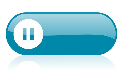 pause blue web glossy icon