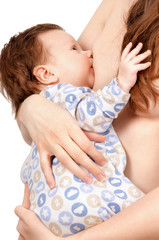 Mother feeding her baby with breast