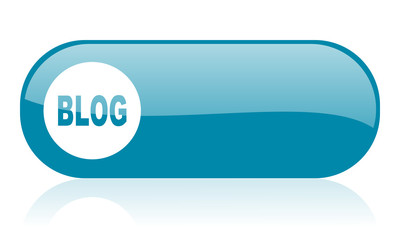 blog blue web glossy icon