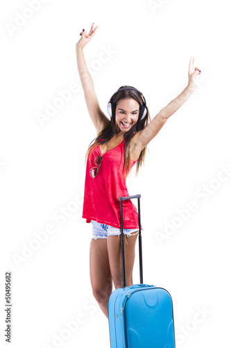 Happy woman going on vacation