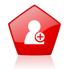 add contact red web glossy icon
