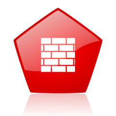 firewall red web glossy icon