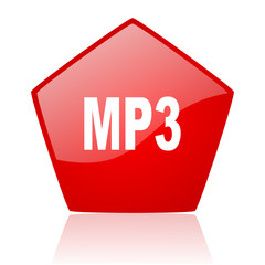 mp3 red web glossy icon