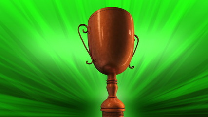 Bronze Award Trophy or Cup Spinning Around in a seamless loop