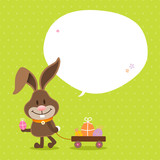 Bunny Handcart Speech Bubble Green Dots
