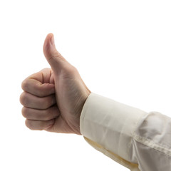 man's hand shows like gesture