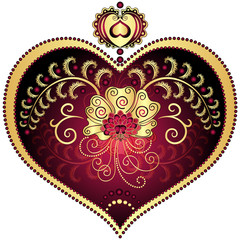 Red and gold vintage heart