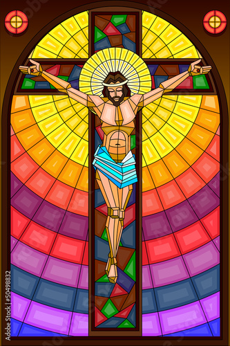 Stained Glass Painting of Crucifixion - 50498832