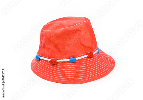 Red Panama hat isolated on white background