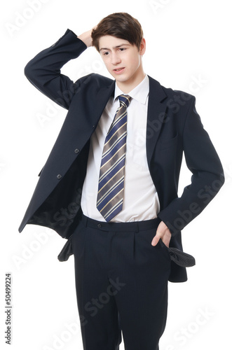 The businessman with empty pockets isolated