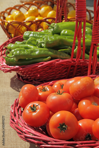 vegetablesand fruits  in baskets on farmers market