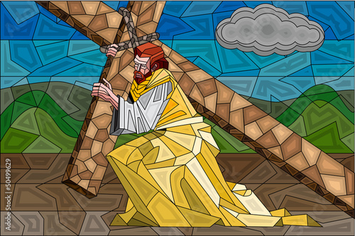 Stained Glass Painting of Crucifixion - 50499629