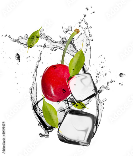 Poster In het ijs Cherries with ice cubes, isolated on white background