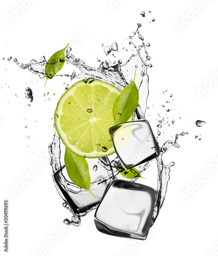 Deurstickers In het ijs Lime with ice cubes, isolated on white background