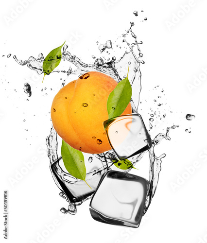 Deurstickers In het ijs Apricot with ice cubes, isolated on white background