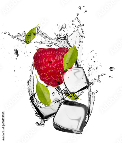 Poster In het ijs Raspberry with ice cubes, isolated on white background
