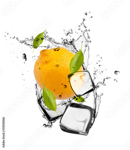 Poster In het ijs Lemon with ice cubes, isolated on white background