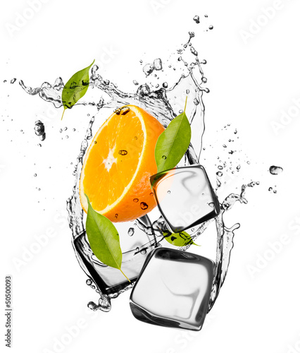 Fotobehang In het ijs Orange with ice cubes, isolated on white background