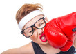 Funny fitness woman with boxing gloves, isolated on white