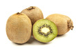 Whole kiwi fruit and his segments isolated on white background c
