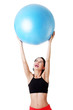 Woman with pilates exercise ball.