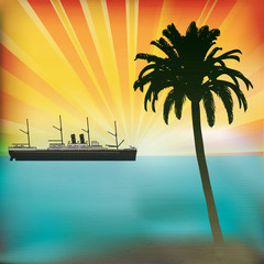 Vintage Sea Cruise, Tropical Vector Background with a sunset and