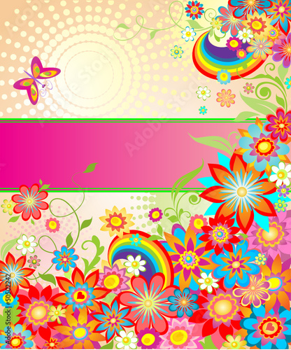 Summery greeting card with rainbow
