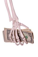 skeleton fingers holding dollars