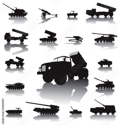 Howitzer and rocket artillery silhouettes set. Vector