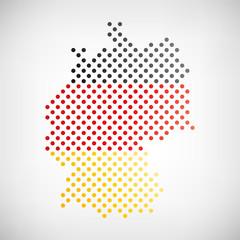 Deutschland Karte punktiert mit Nationalfarben