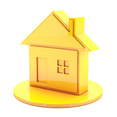 3D House Gold Icon
