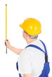 worker with measuring tape, vertical