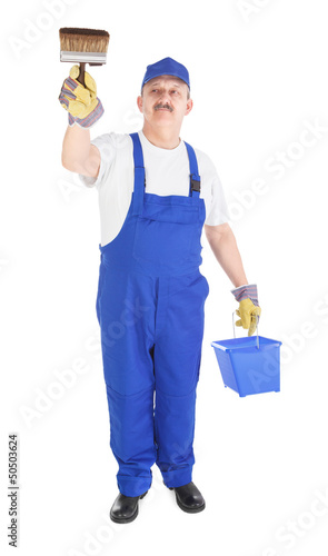 house painter with bucket and paintbrush