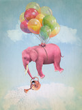 Pink elephant in the sky with a watering can. Illustration