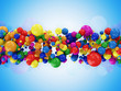 Abstract Illustration of Colorful Balls on blue background