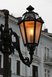 close up of alight street lamp in Odessa, Ukraine