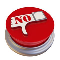 Круглая кнопка с символом отрицательного отзыва и надписью NO