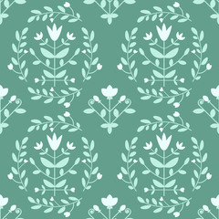 Blue damask pattern with decorative flowers