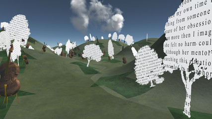 Paper trees with text and Cellos sit in hilly landscape