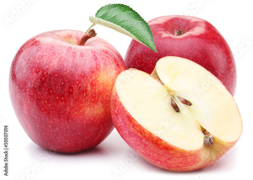 Red apple with leaf and slice. - 50507014
