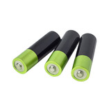 battery green three isolated on white background clipping path