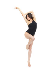 Pretty slim jazz modern contemporary style woman ballet dancer