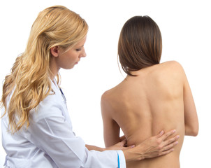 Doctor research patient spine scoliosis deformity