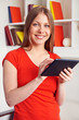 woman holding tablet pc