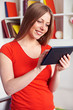 woman working with tablet pc at home