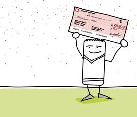 Personnage qui est heureux de montrer un gros chèque