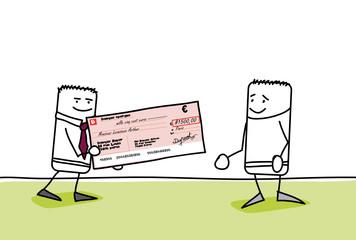 Personnage qui reçoit un chèque par son chef