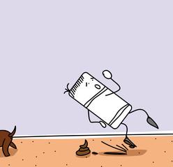 Personnage qui glisse sur une crotte de chien