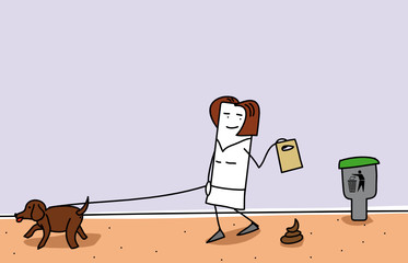 Personnage qui ramasse la crotte de son chien